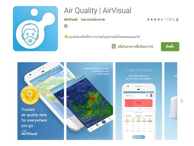 AirVisual แอพฯ เช็คค่าฝุ่นละออง วิกฤตหนักกรุงเทพฯ ฝุ่นละออง PM2.5 เกินมาตรฐาน