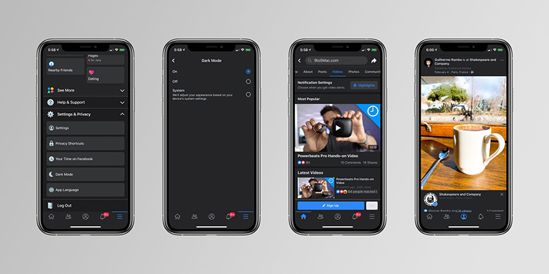 โหมดมืด Facebook บน iOS ก่อนปล่อยใช้งานจริง