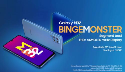 Samsung Galaxy M32 ใหม่ล่าสุด หน้าจอ 90Hz AMOLED แบตฯ 6000mAh